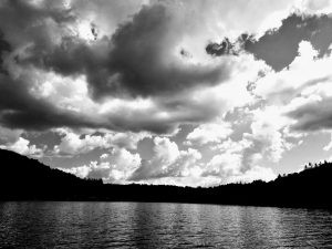 Clouds and Lake in Black and White